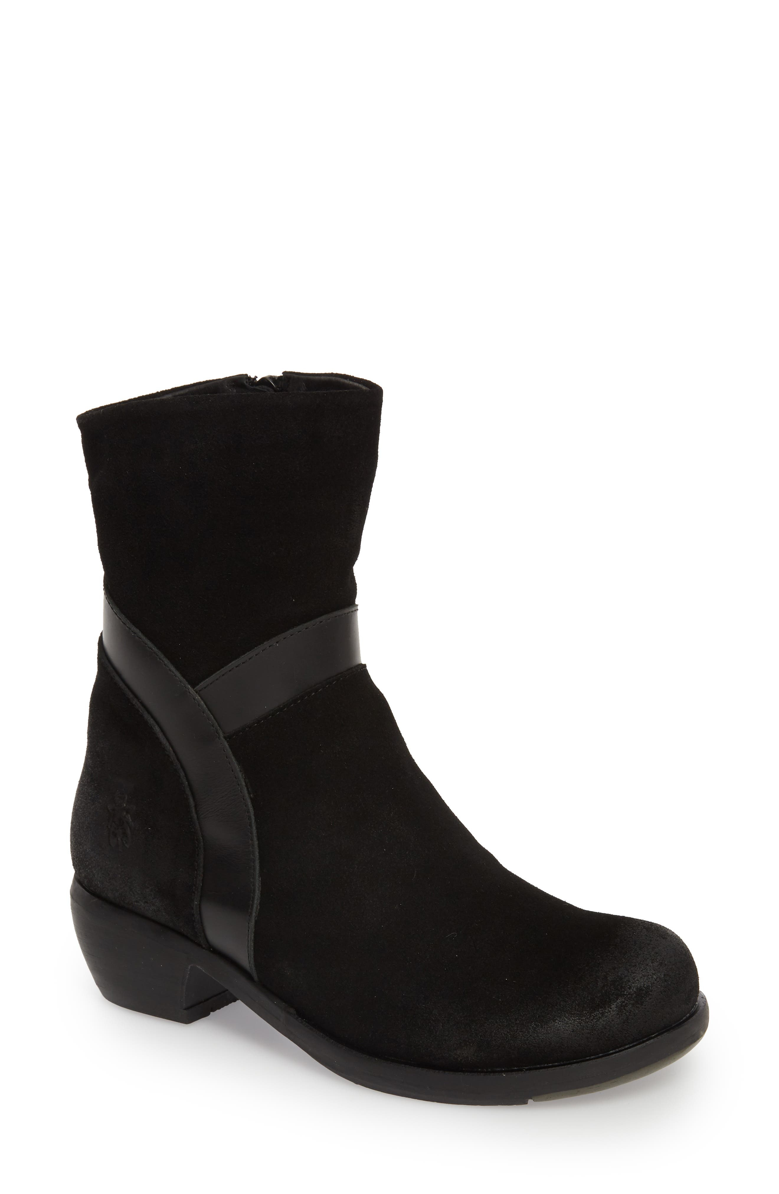Fly London Mobu Mixed Media Bootie, Black