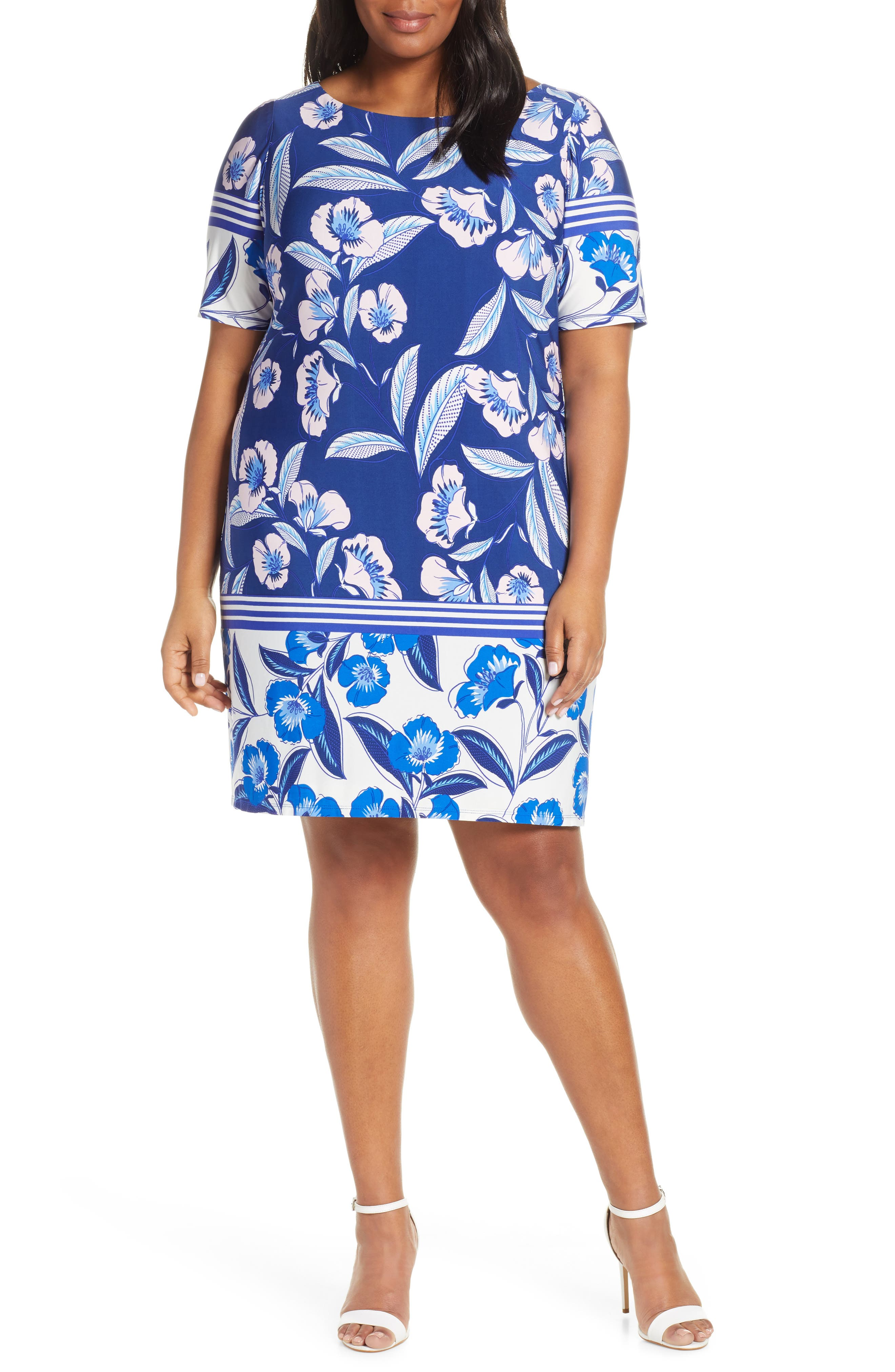 Plus Size Eliza J Print Elbow Sleeve Shift Dress, Blue