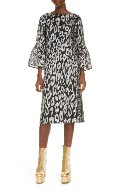 Image of DRIES VAN NOTEN Boatneck Leopard Print Jacquard Dress