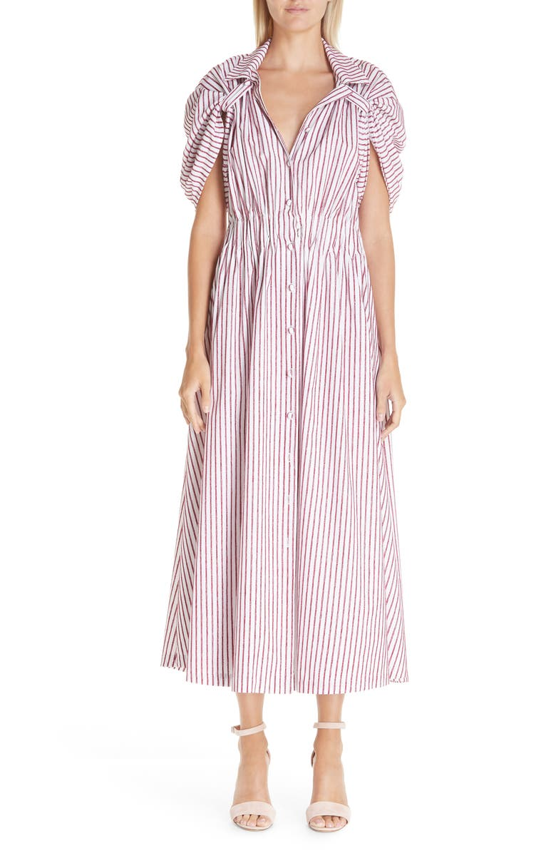 BY ANY OTHER NAME Tab Sleeve Midi Shirtdress, Main, color, RED/ WHITE