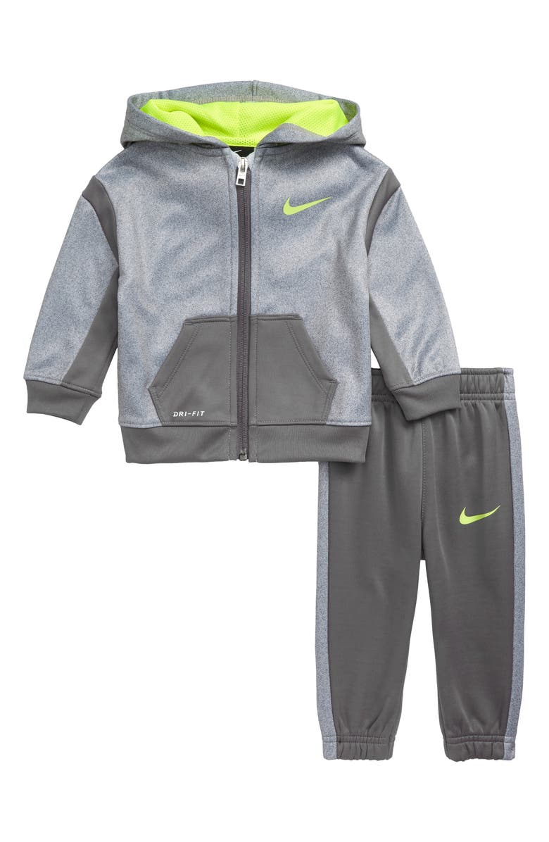 NIKE Therma Dri-FIT Speckle Colorblock Hoodie & Sweatpants Set, Main, color, GUNSMOKE
