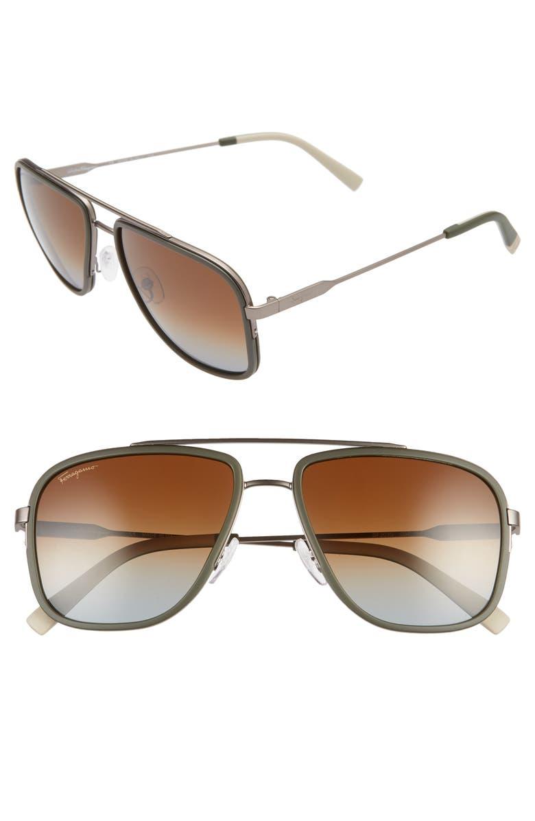 SALVATORE FERRAGAMO 57mm Navigator Sunglasses, Main, color, MATTE RUTHENIUM/ GREEN