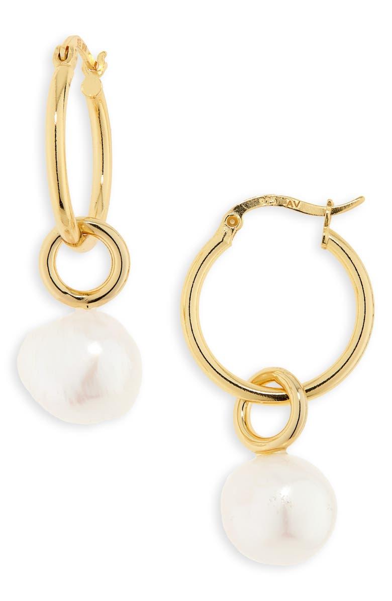 ARGENTO VIVO Pearl Hoop Earrings, Main, color, GOLD