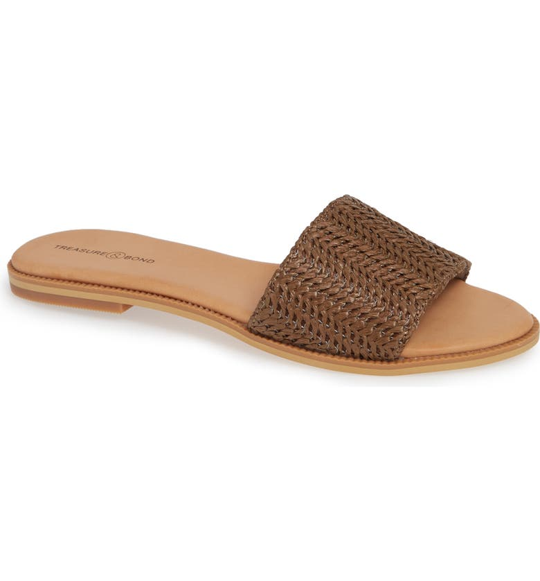 TREASURE & BOND Mere Flat Slide Sandal, Main, color, BROWN FAUX RAFFIA