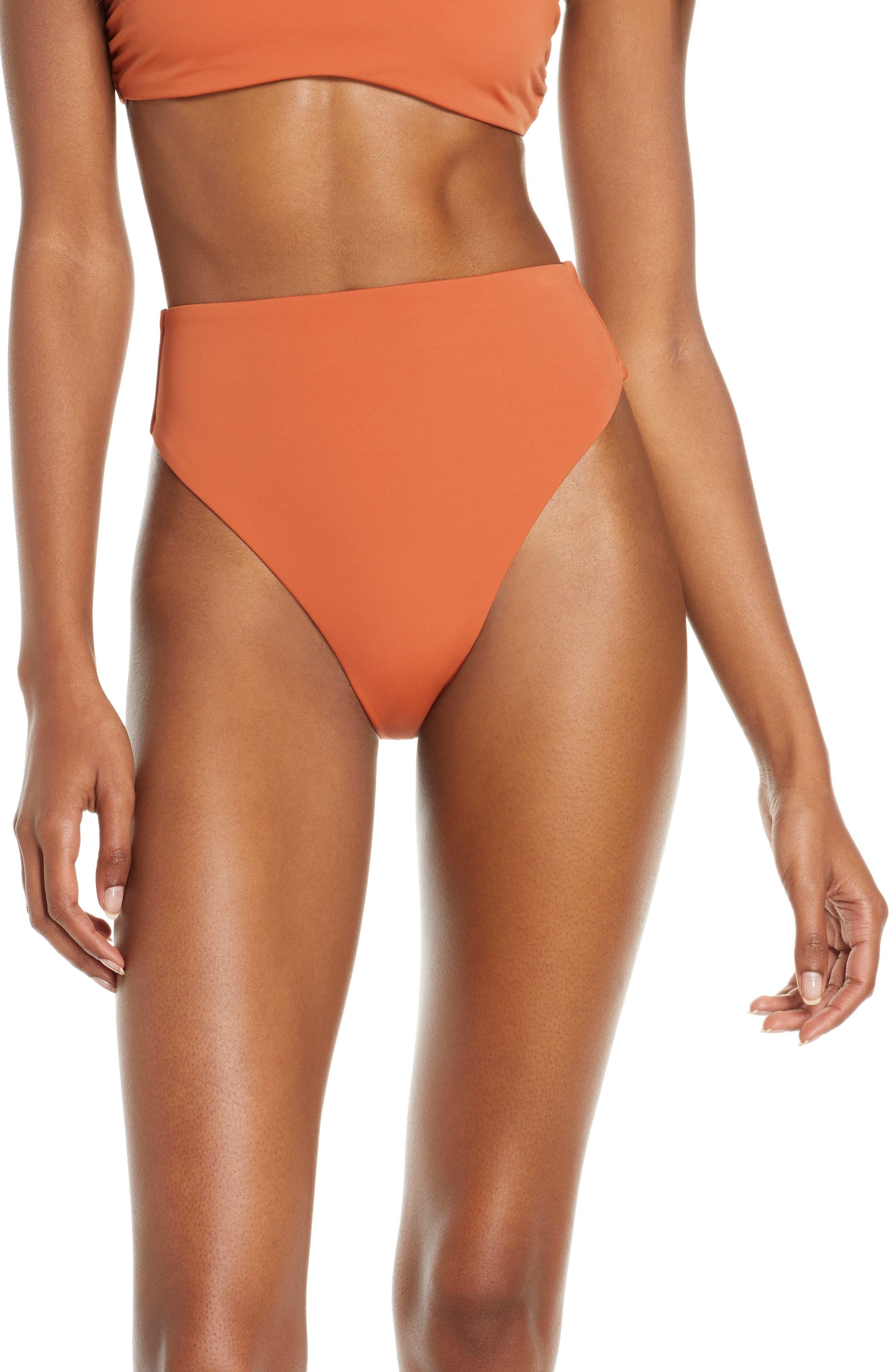 Chelsea28 Easy Retro High Waist Bikini Bottoms, Brown