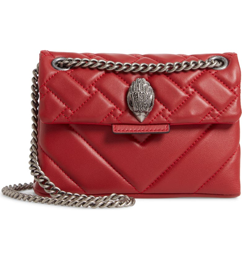 KURT GEIGER LONDON Mini Kensington Quilted Leather Crossbody Bag, Main, color, RED