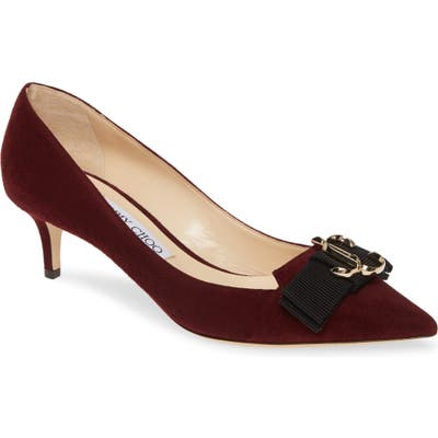 Jimmy Choo Ari Buckle Pointy Toe Pump - Burgundy