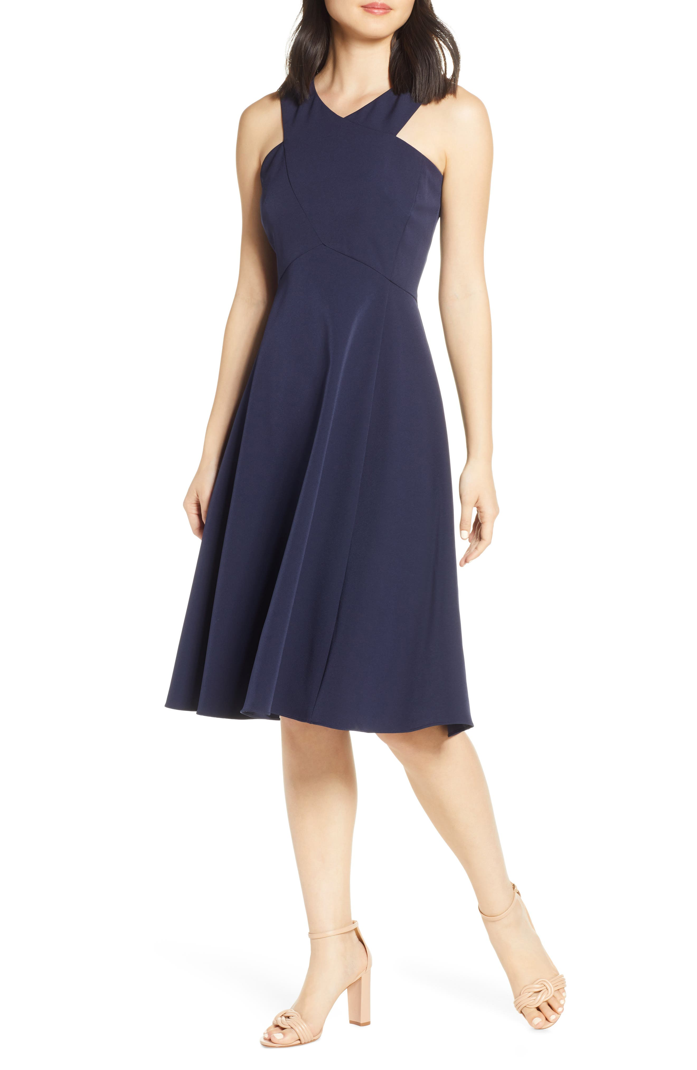 Eliza J Cross Neck Crepe Fit & Flare Dress, Blue