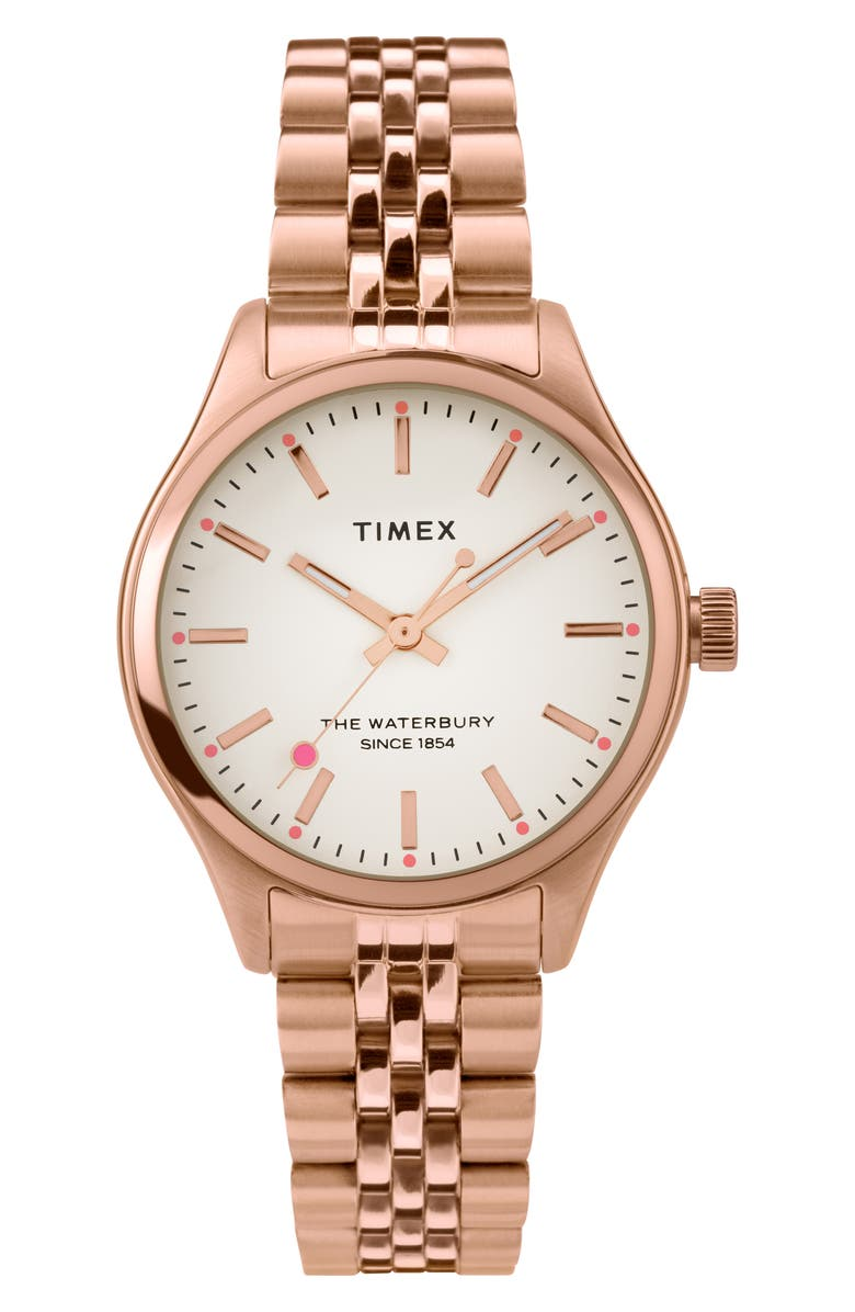 TIMEX<SUP>®</SUP> Waterbury INDIGLO Heart Bracelet Watch, 34mm, Main, color, ROSE GOLD/ CREAM/ ROSE GOLD