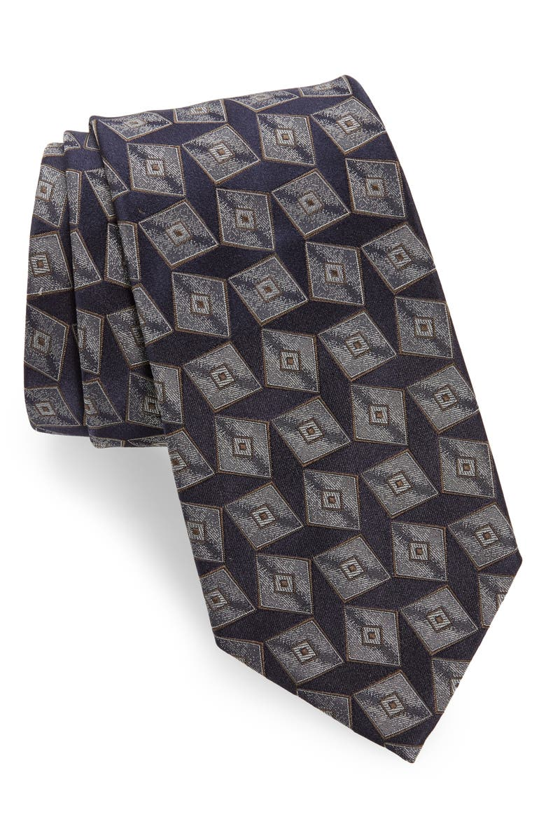 EMPORIO ARMANI Medallion Silk Tie, Main, color, DARK BLUE