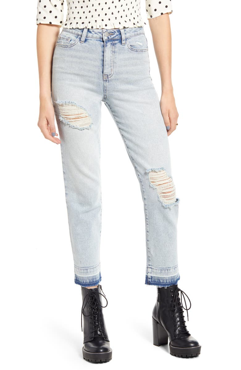 BP. x Claudia Sulewski Ripped Mom Jeans, Main, color, LIGHT WASH
