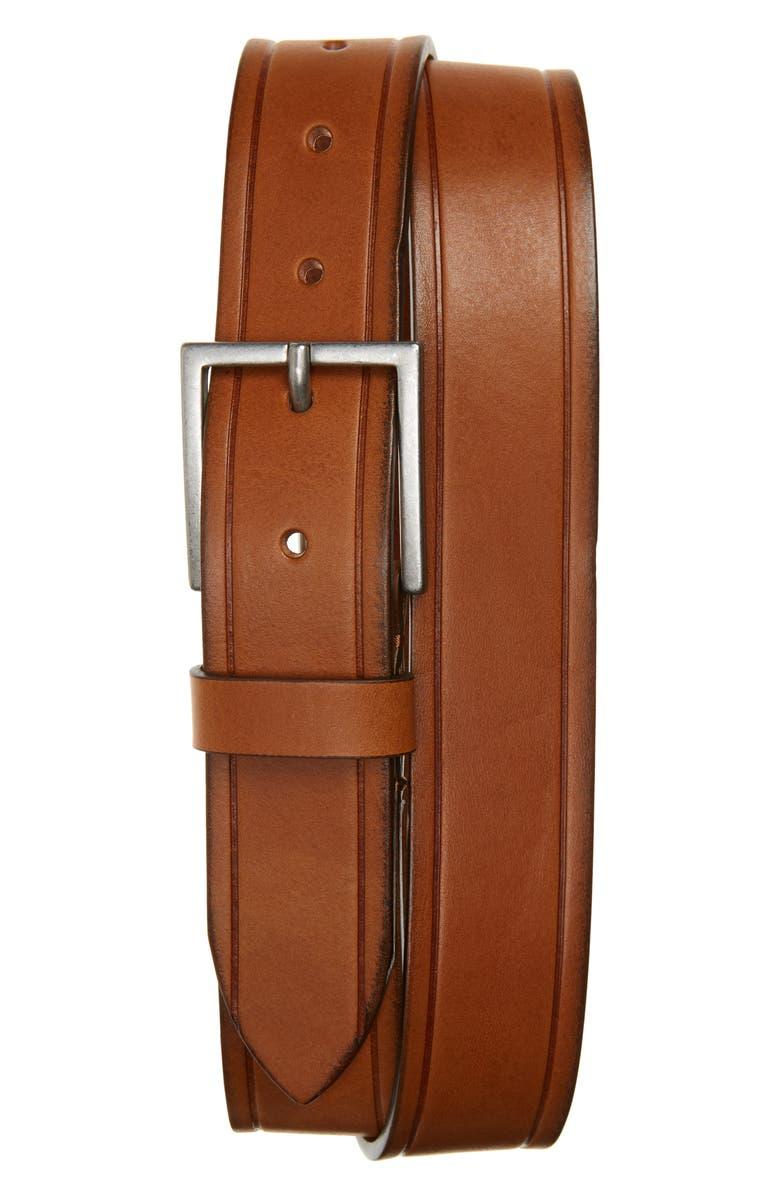 1901 Declan Leather Belt, Main, color, COGNAC