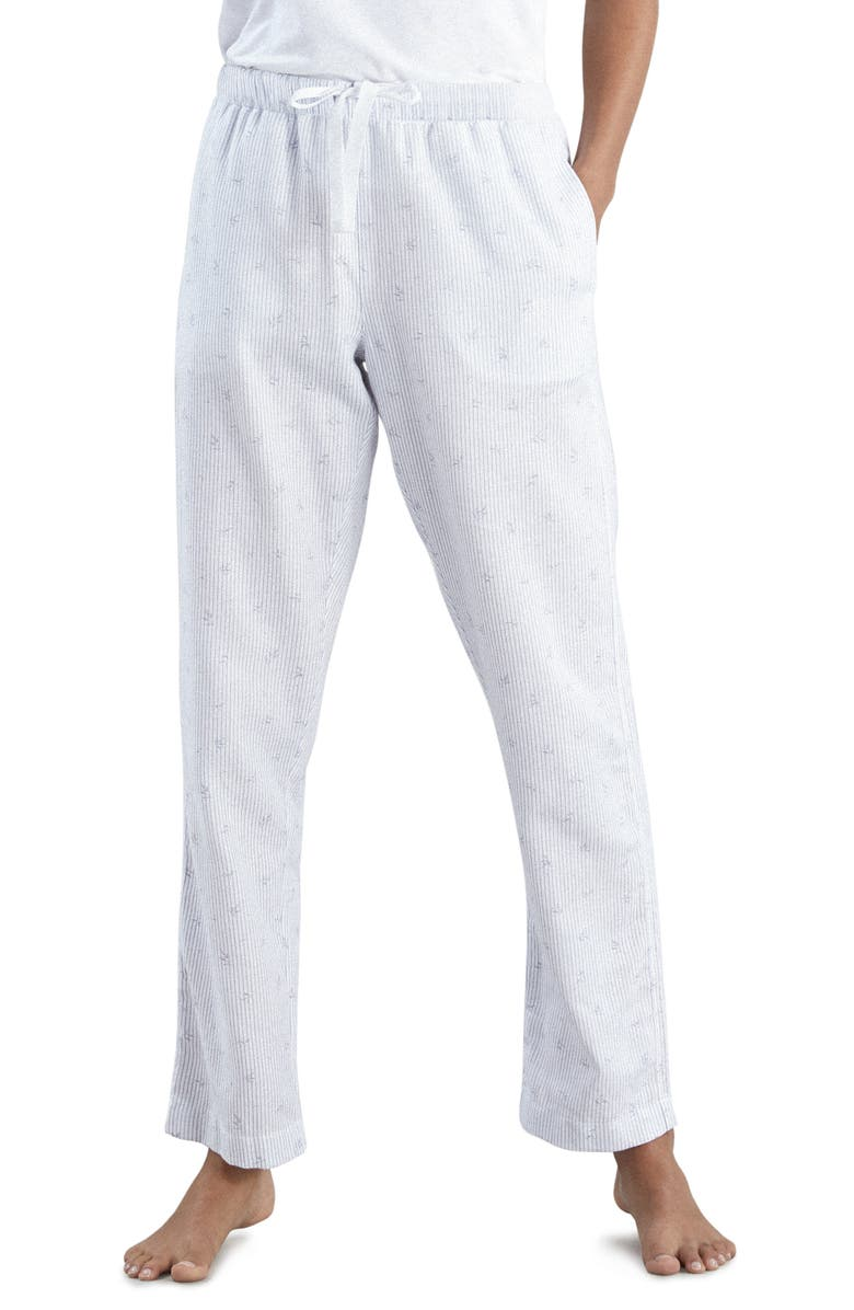 THE WHITE COMPANY Leaf Print Flannel Pajama Pants, Main, color, WHITE WITH PALE GREY PRINT