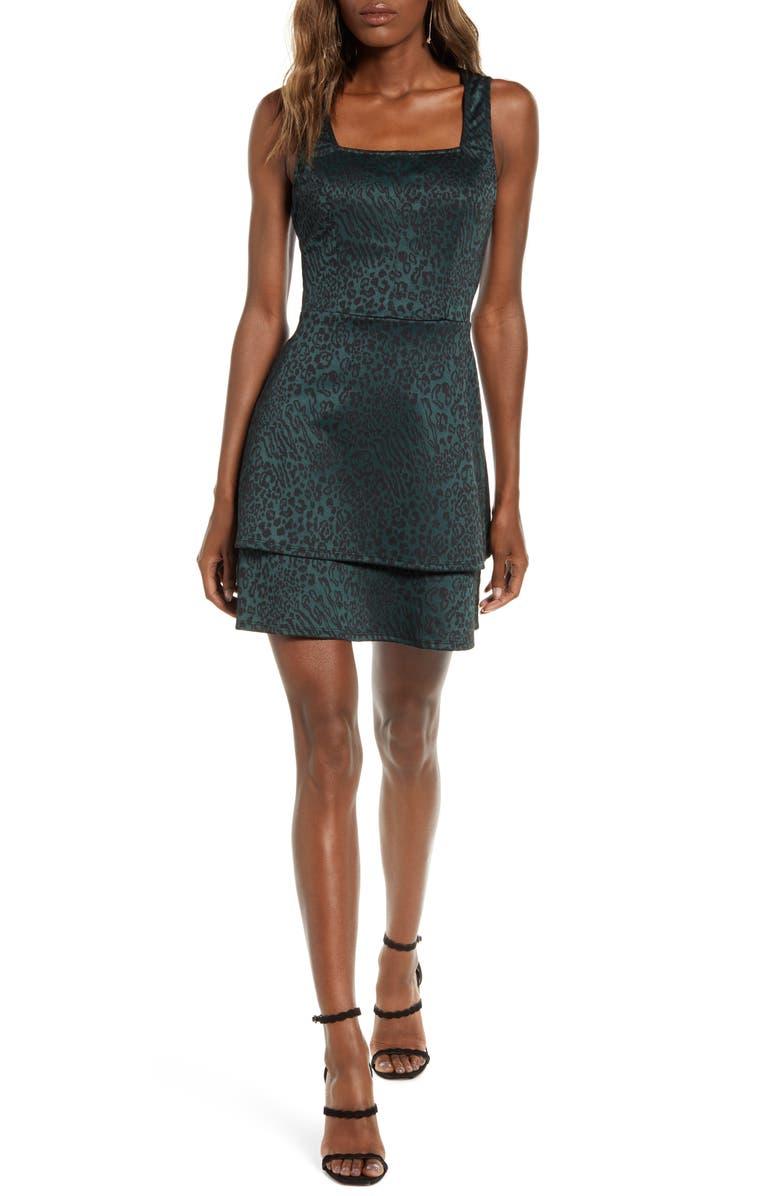 SPEECHLESS Cheetah Sleeveless Minidress, Main, color, HUNTER BLACK