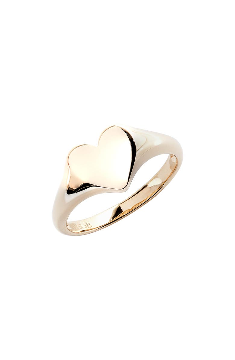 EF COLLECTION Gold Heart Pinky Ring, Main, color, YELLOW GOLD