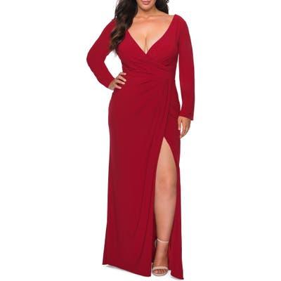 Plus Size La Femme Long Sleeve Faux Wrap Gown, Red