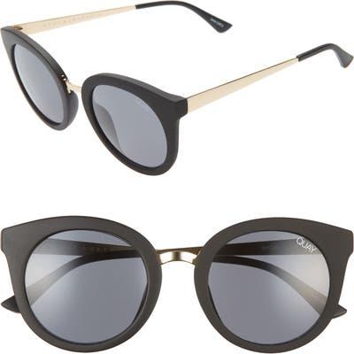 Quay Australia Shook Cat Eye 51Mm Sunglasses - Matte Black/ Smoke