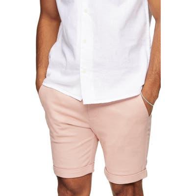 Topman Stretch Skinny Chino Shorts, Pink