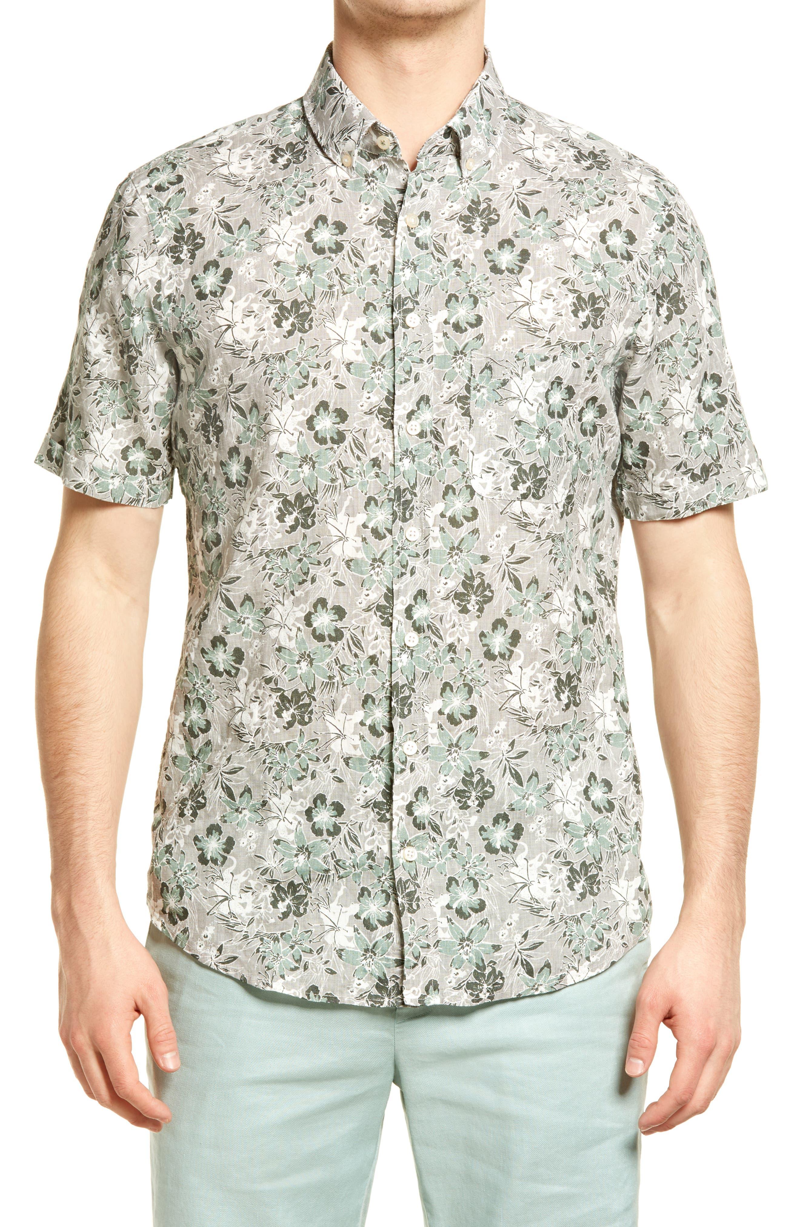 Dan Regular Fit Floral Print Short Sleeve Linen Button-Down Shirt