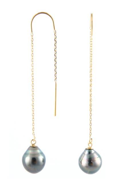 Image of Splendid Pearls 14K Yellow Gold 7.5-8mm Tahitian Pearl Threader Earrings
