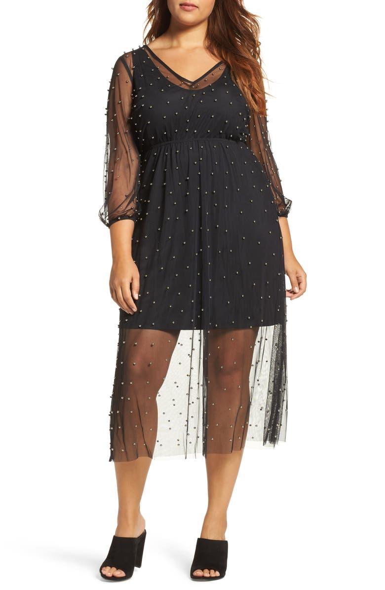 ELVI Beaded Mesh Midi Dress, Main, color, 001