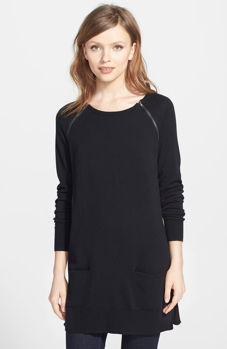 CASLON<SUP>®</SUP> Zip Detail Raglan Sleeve Tunic, Main, color, 001