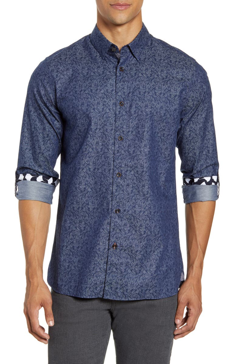 TED BAKER LONDON Slim Fit Indigo Palm Print Button-Up Shirt, Main, color, NAVY