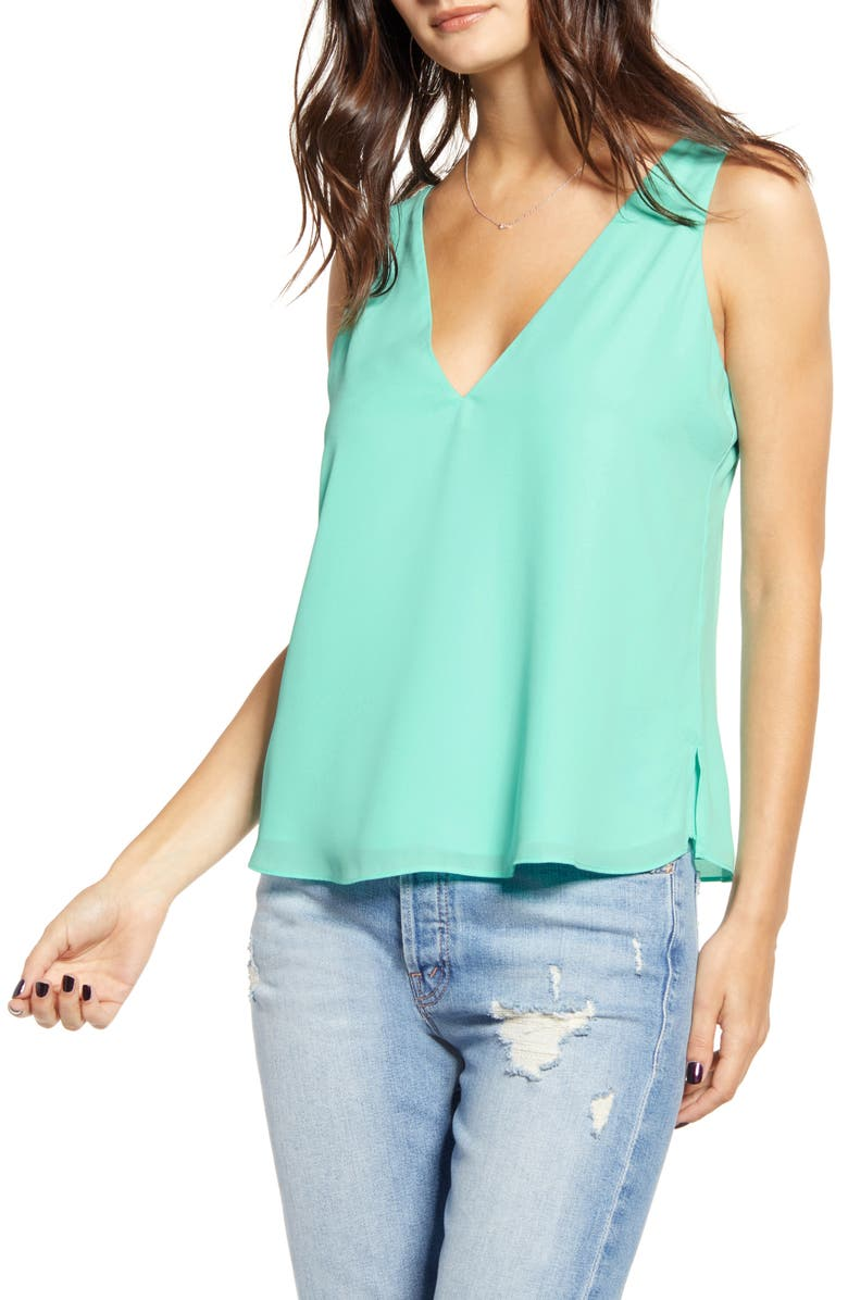 LEITH Everyday V-Neck & Back Tank Top, Main, color, BLUE ORYDALIS