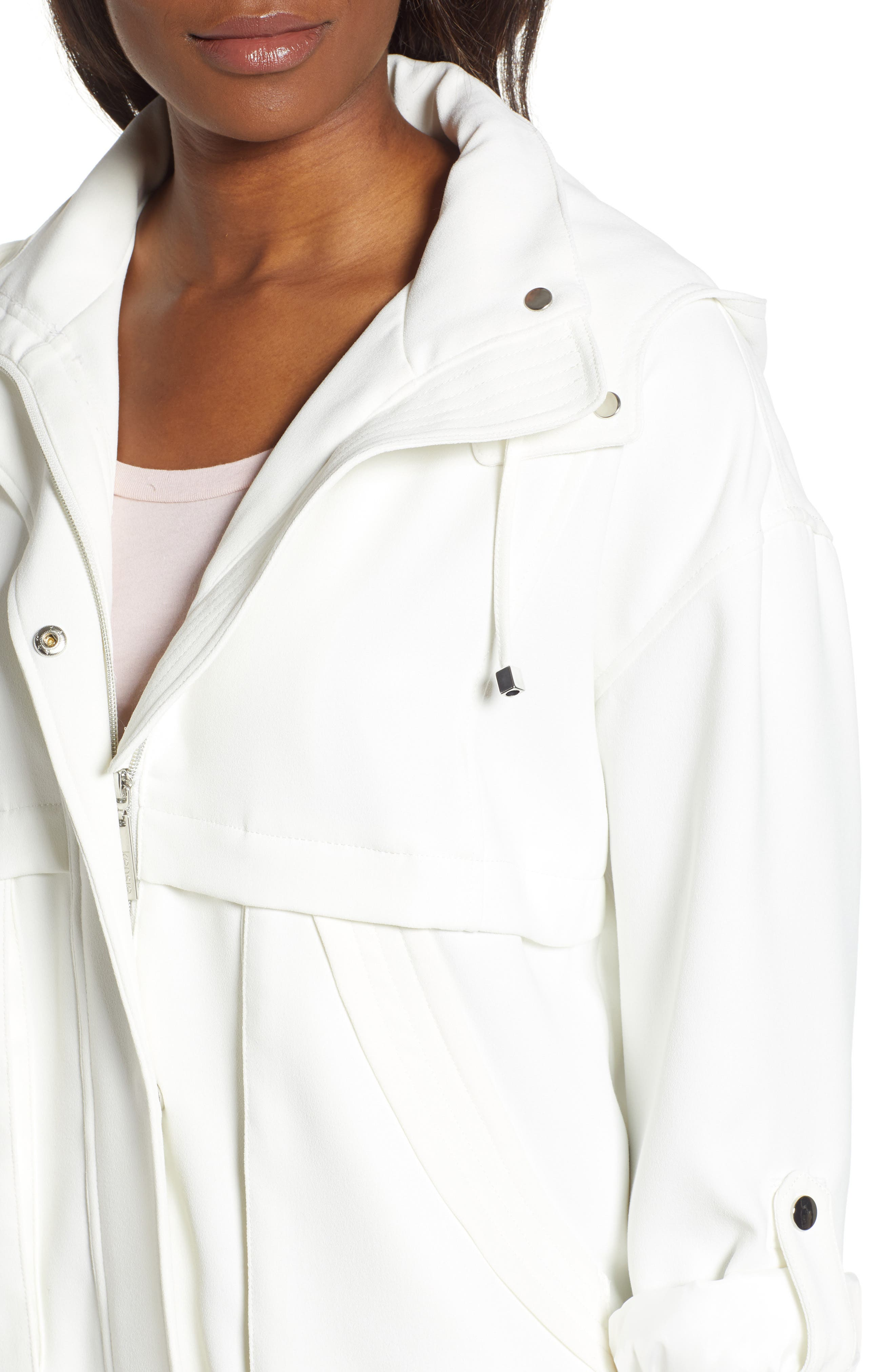 ,                             Crepe Blouson Hooded Jacket,                             Alternate thumbnail 5, color,                             WHITE