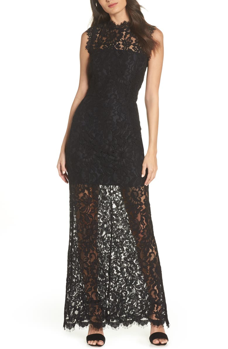 BB DAKOTA Lace Maxi Dress, Main, color, BLACK