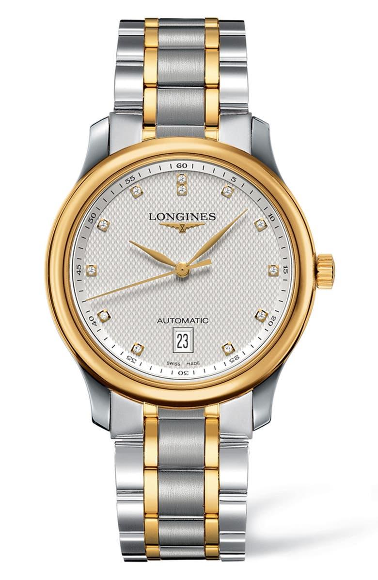 LONGINES Master Automatic Diamond Bracelet Watch, 38.5mm, Main, color, SILVER/ GOLD