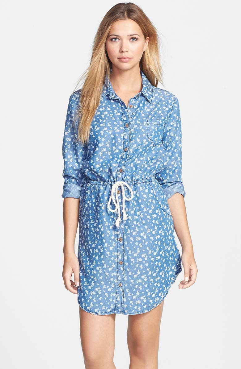 VELVET HEART Floral Print Chambray Shirtdress, Main, color, 439