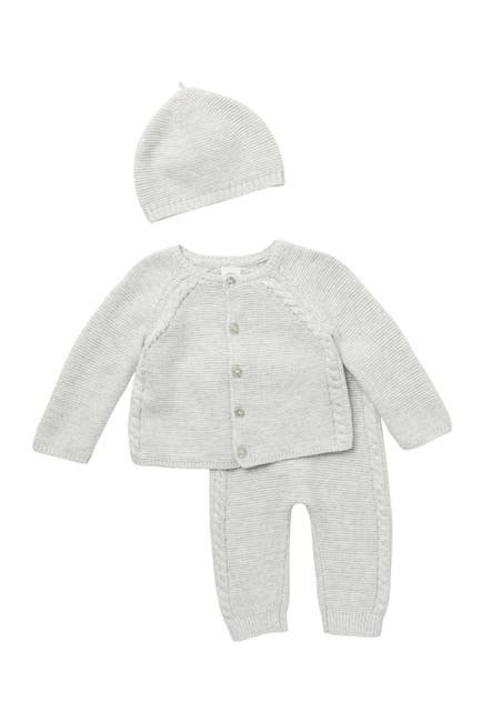 Image of Little Me Cable Knit 3-Piece Sweater Set