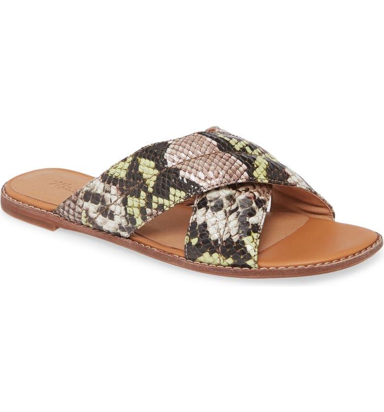 MADEWELL The Skyler Slide Sandal, Main, color, MINT/ CREAM SNAKE PRINT
