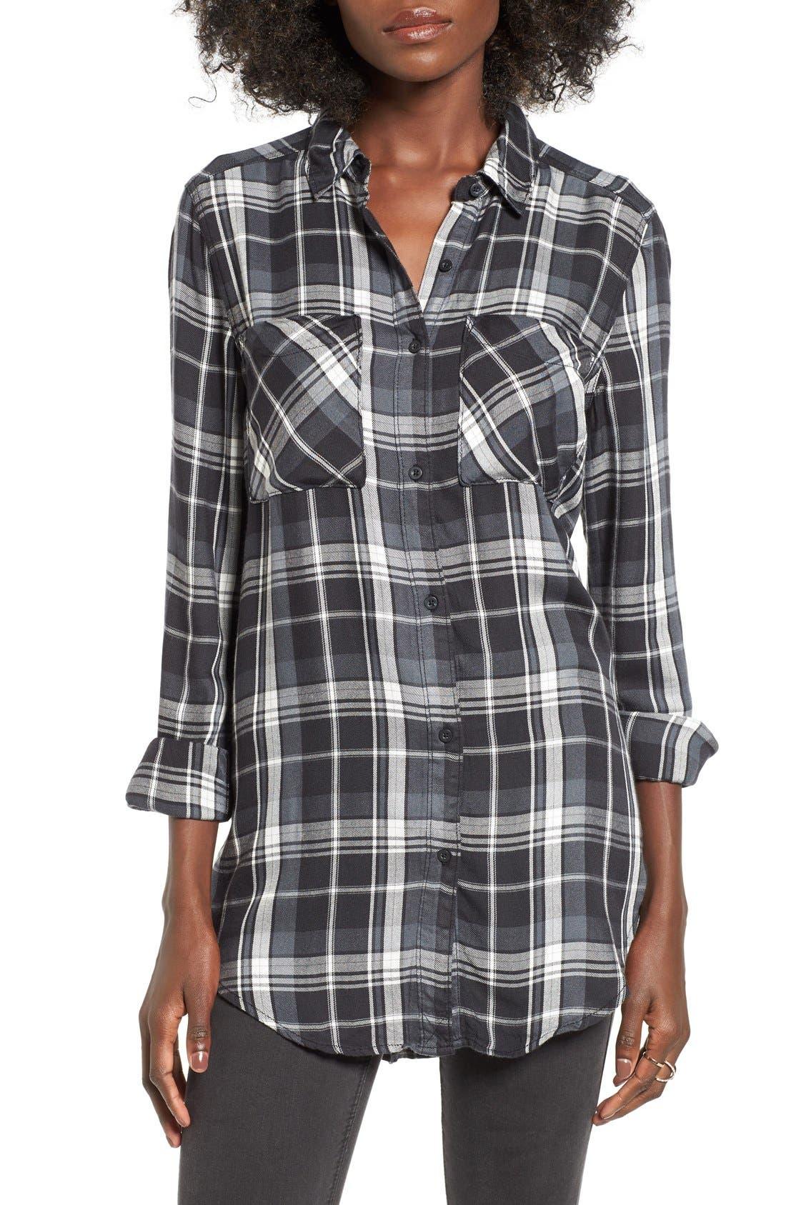 ,                             Plaid Tunic Shirt,                             Main thumbnail 7, color,                             002