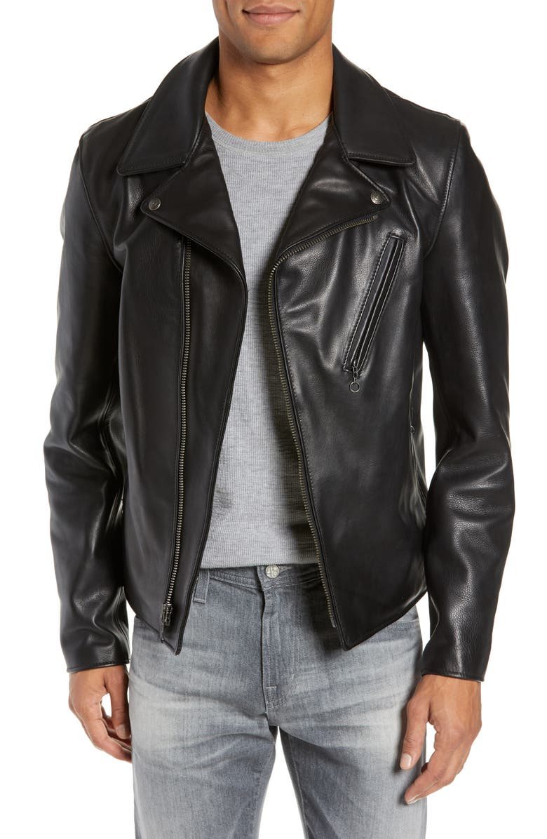 SCHOTT NYC Waxy Cowhide Leather Moto Jacket, Main, color, BLACK