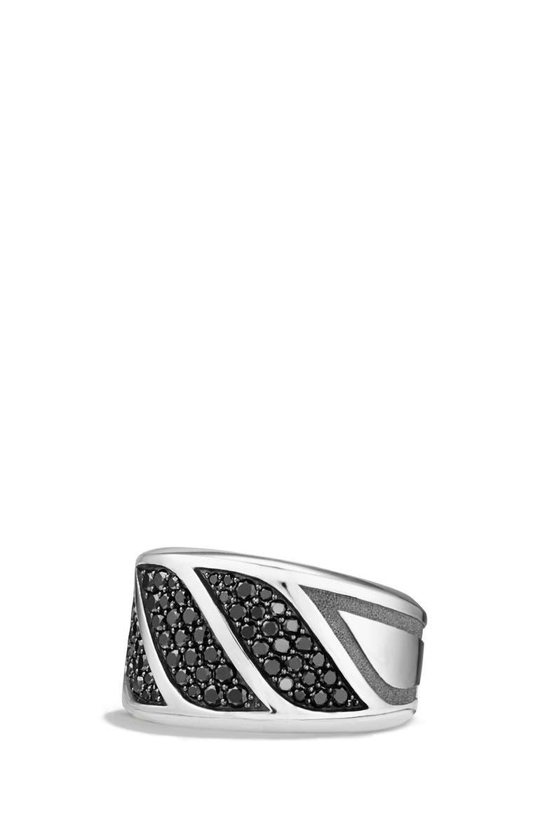 DAVID YURMAN 'Graphic Cable' Band Ring, Main, color, SILVER/ BLACK DIAMOND