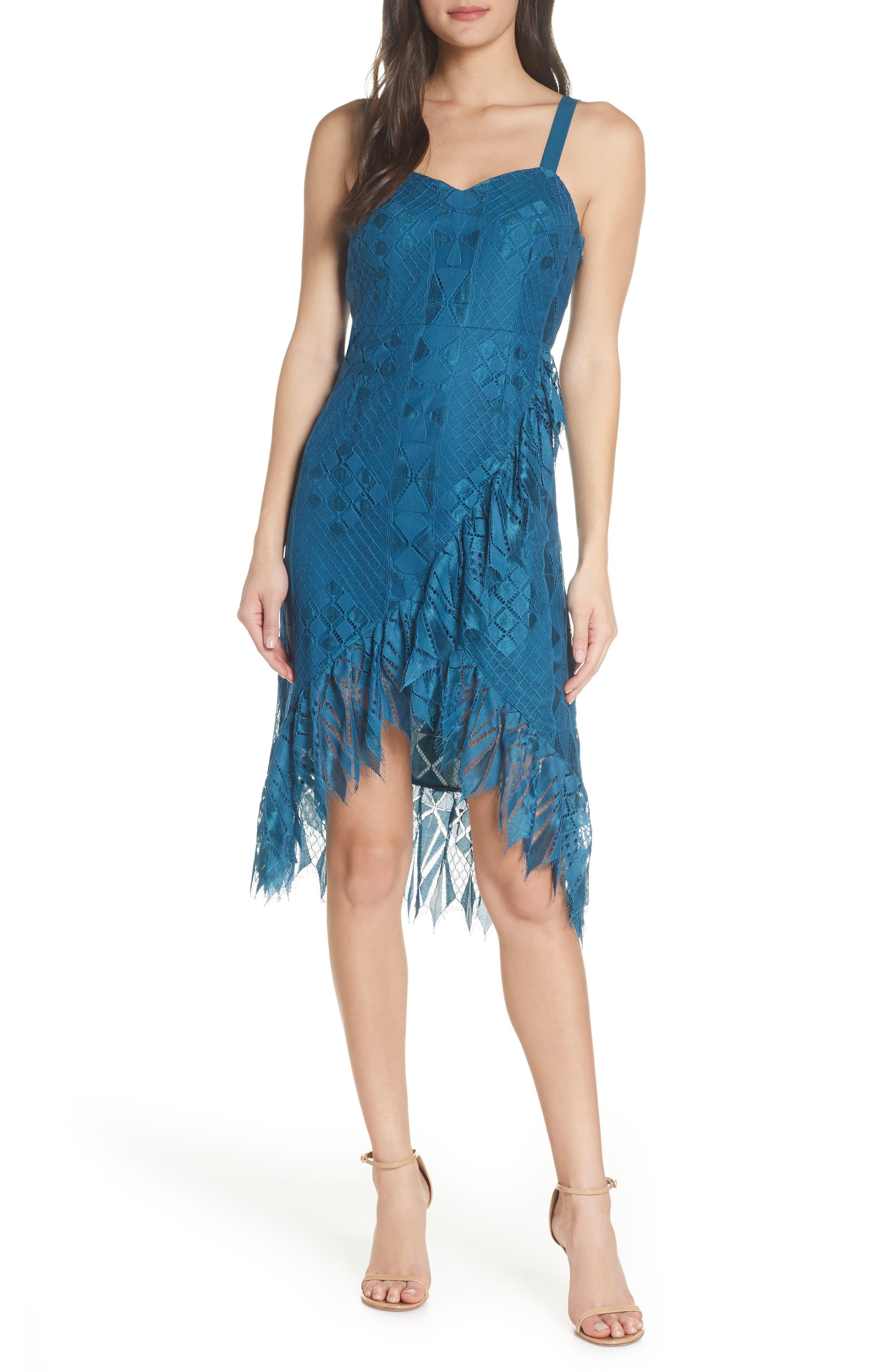 Foxiedox Lace Ruffle Sleeveless Cocktail Dress, Blue/green