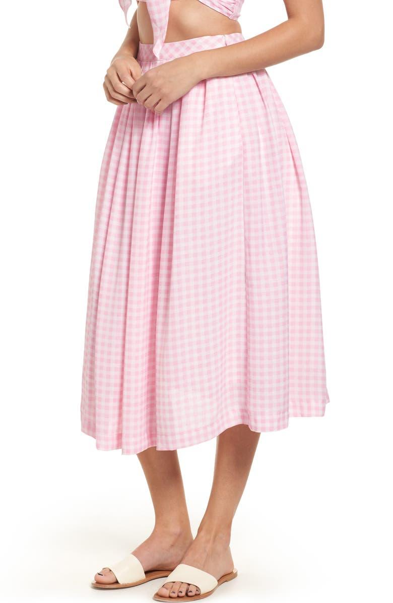 J.O.A. Gingham Midi Skirt, Main, color, 650