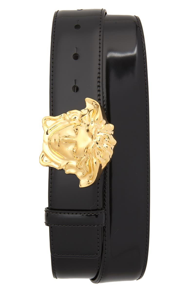 VERSACE Palazzo Medusa Buckle Leather Belt, Main, color, BLACK WARM GOLD