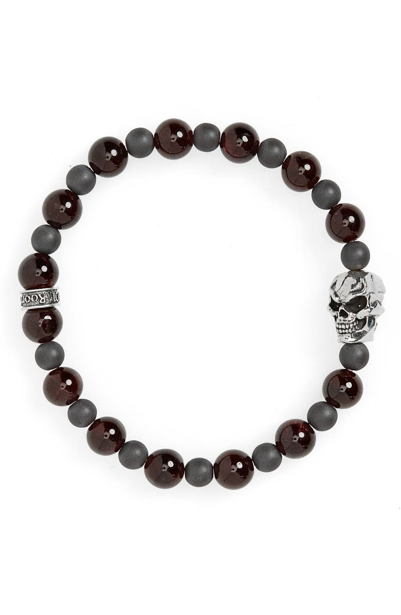 ROOM101 Garnet & Hematite Bead Bracelet, Main, color, RED/ GREY