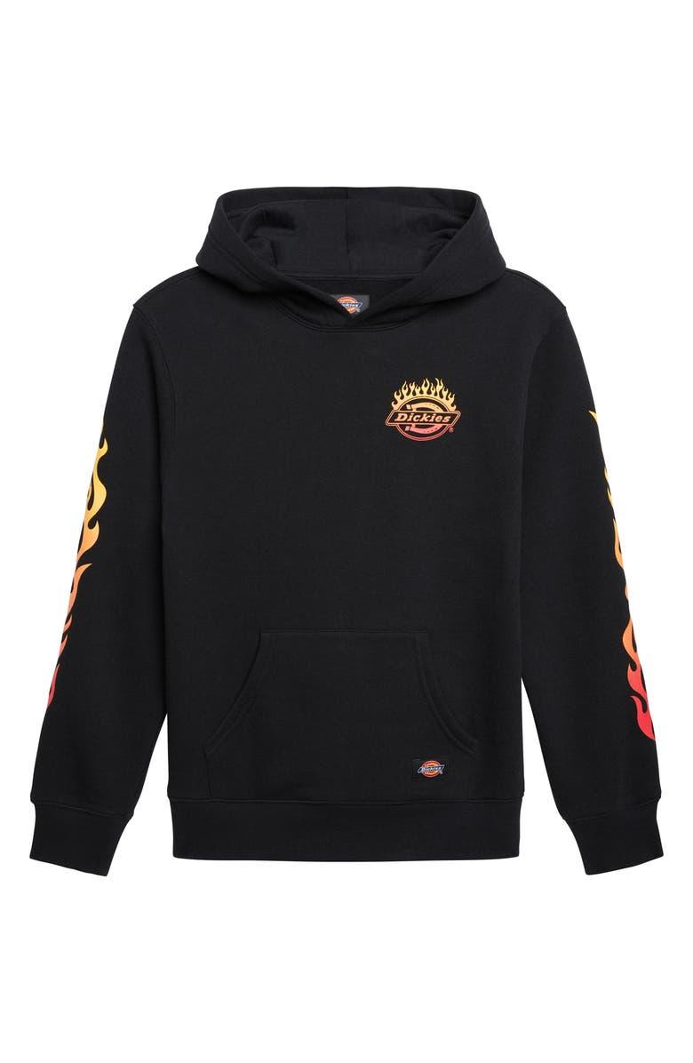 DICKIES Flame Logo Hooded Sweatshirt, Main, color, BLACK