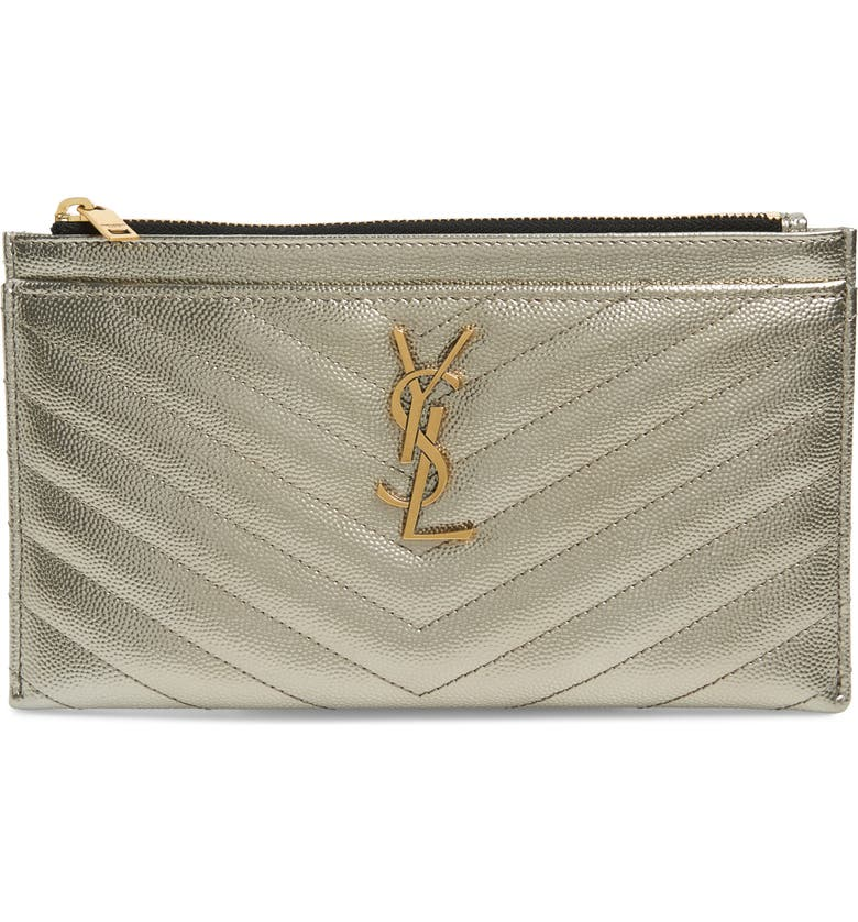 SAINT LAURENT Monogram Metallic Leather Pouch, Main, color, BRUN METALASSE