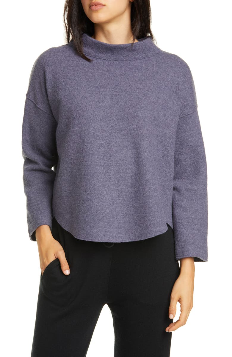 EILEEN FISHER Funnel Neck Wool Sweater, Main, color, BLUE SHALE