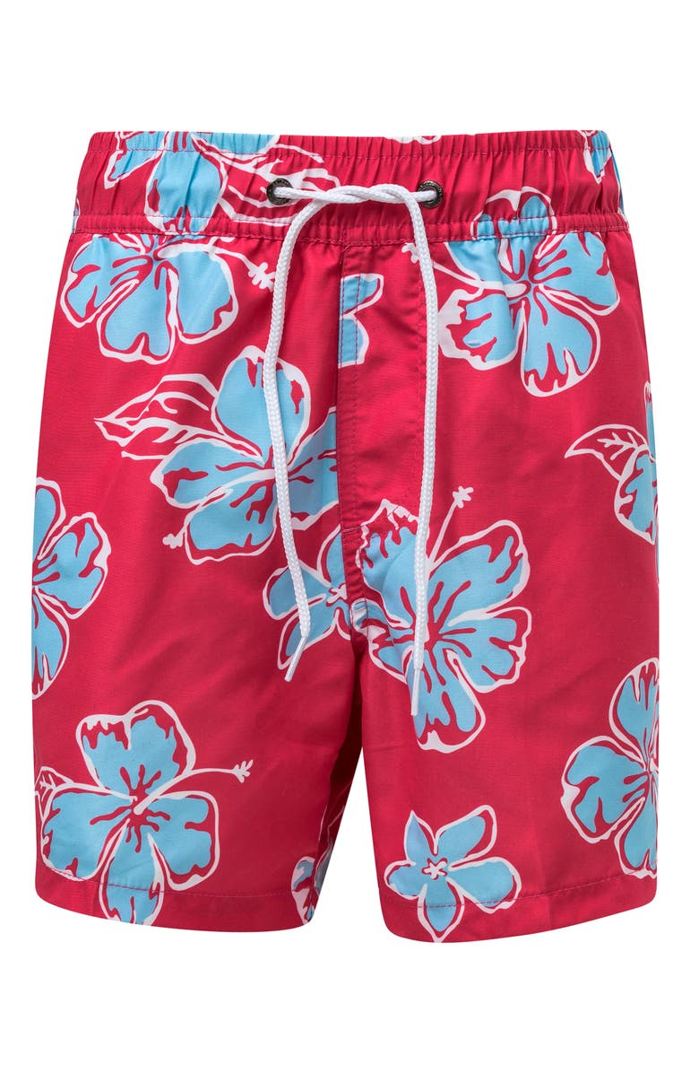 SNAPPER ROCK Hibiscus Swim Trunks, Main, color, BRIGHT RED