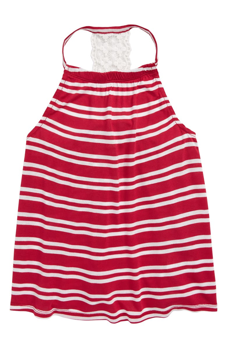 TUCKER + TATE Paradise Lace Back Tank, Main, color, RED BEETROOT DOUBLE STRIPE