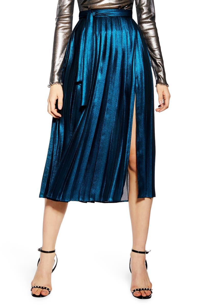 TOPSHOP Metallic Pleat Midi Skirt, Main, color, 400