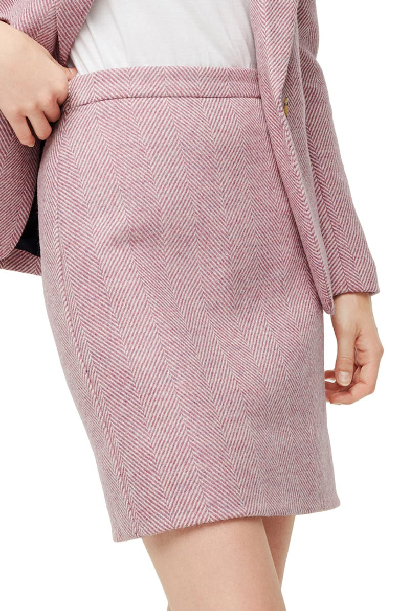 J.CREW Herringbone Wool Miniskirt, Main, color, IVORY MAUVE HERRINGBONE