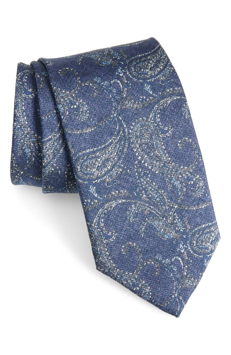 DAVID DONAHUE Paisley Silk Tie, Main, color, DENIM