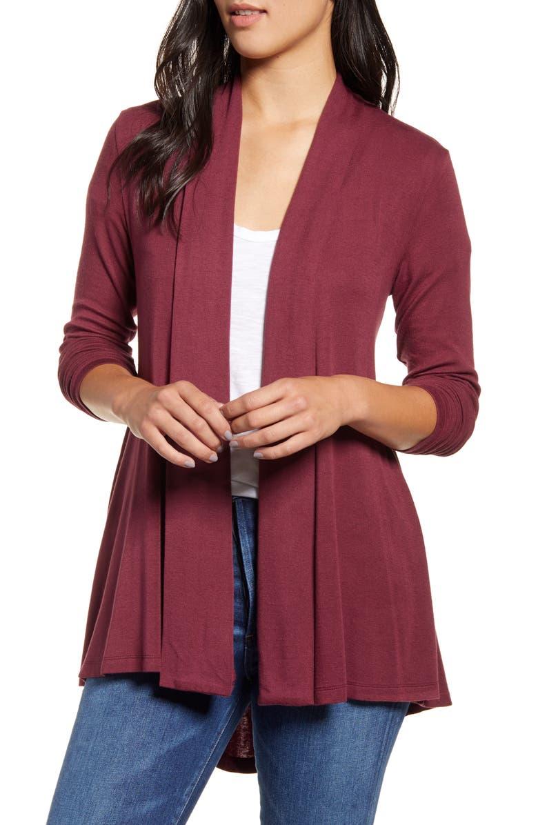 BOBEAU High/Low Jersey Cardigan, Main, color, WINDSOR WINE/ BURGUNDY